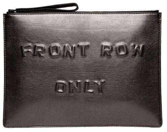 front row only, fashion week clutch